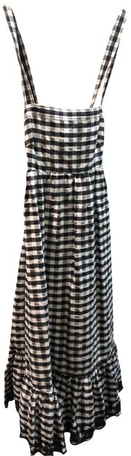 Item - Black and White Gingham Eyelet Trip Puckered Mid-length Short Casual Dress Size 2 (XS)