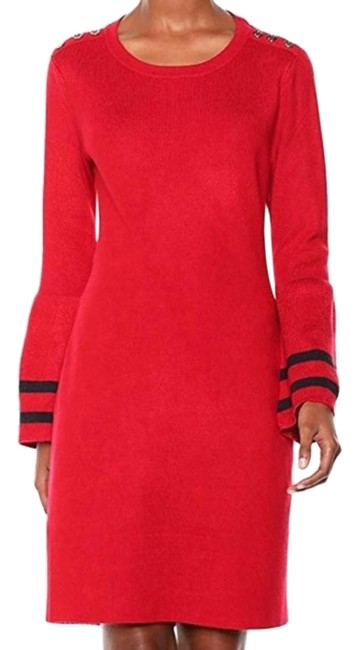 Item - Red Bell Sleeve Striped Sweater Short Casual Dress Size 10 (M)