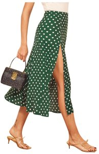 Reformation Maxi Skirt green with white polka dots
