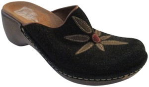 Clarks Suede Floral Applique Man Made Materials Black Green Burgundy Mules
