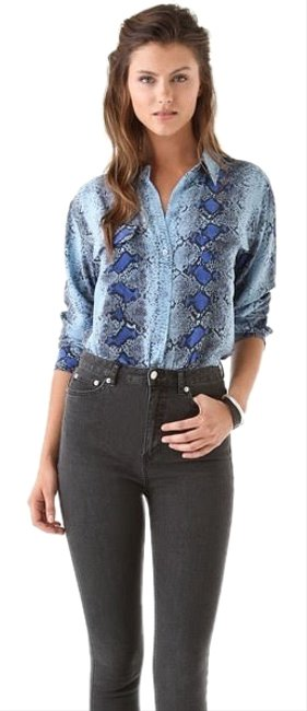 Item - Blue Snakeskin Signature Blouse Button-down Top Size 4 (S)