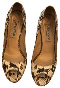 Jimmy Choo Glossy Elephe Natural Platforms