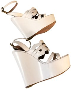 ALAÏA Cut Out Wedge White Sold Out Ivory Platforms