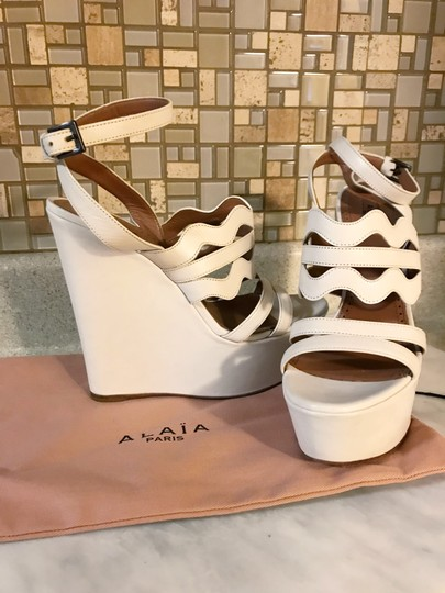ALAA Cut Out Wedge White Sold Out Ivory Platforms Image 11