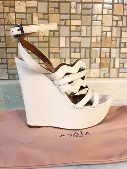 ALAA Cut Out Wedge White Sold Out Ivory Platforms Image 2
