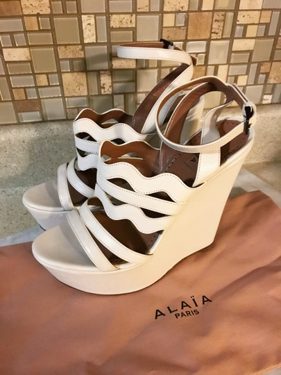ALAA Cut Out Wedge White Sold Out Ivory Platforms Image 3