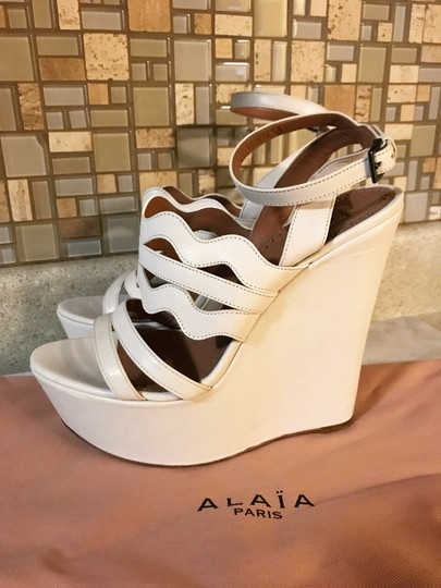 ALAA Cut Out Wedge White Sold Out Ivory Platforms Image 4