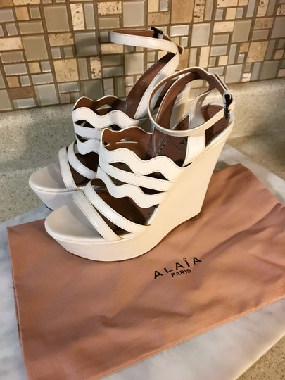 ALAA Cut Out Wedge White Sold Out Ivory Platforms Image 5