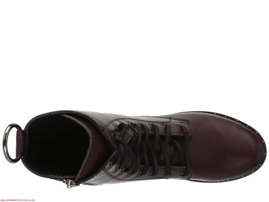 Steve Madden Combat Boots Leather Lace Up Zipped Burgundy Pumps Image 2