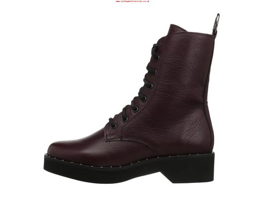 Steve Madden Combat Boots Leather Lace Up Zipped Burgundy Pumps Image 3