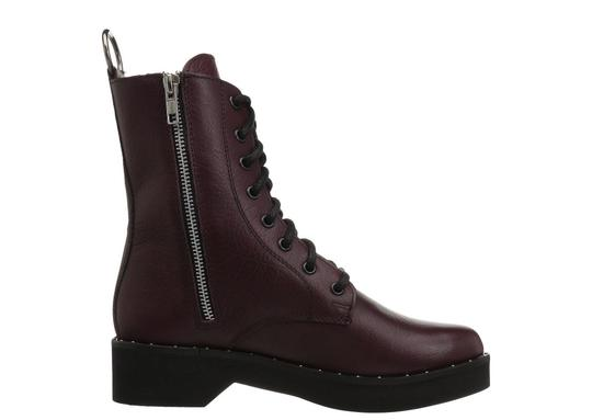 Steve Madden Combat Boots Leather Lace Up Zipped Burgundy Pumps Image 5
