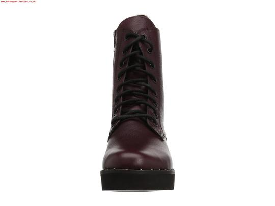 Steve Madden Combat Boots Leather Lace Up Zipped Burgundy Pumps Image 6