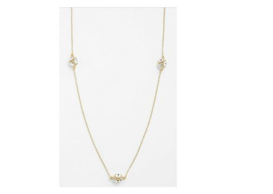 Kate Spade NWT KATE SPADE LADY MARMALADE LONG NECKLACE GOLD TONE CLEAR CRYSTAL Image 1