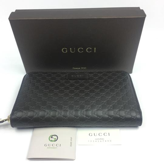 Gucci Gucci #449391 Brown Micro-GG Leather Zip Around Wallet Image 6