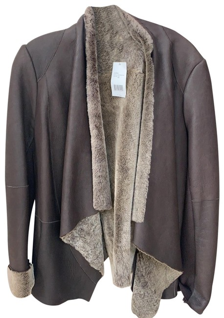 Item - Chocolate Brown Shearling / Leather Jacket Coat Size 8 (M)