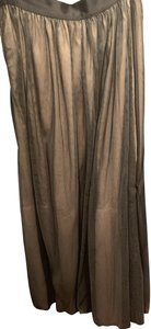 bebe Gown Tulle Formal Prom Maxi Skirt Black Tan