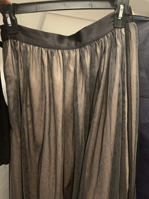 bebe Gown Tulle Formal Prom Maxi Skirt Black Tan Image 4