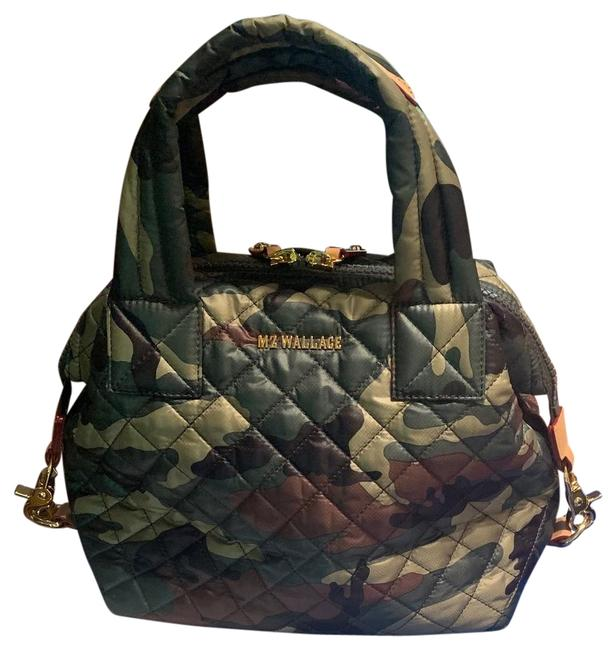Item - Sutton Small Green Camo Quilted Nylon Leather Trim Satchel