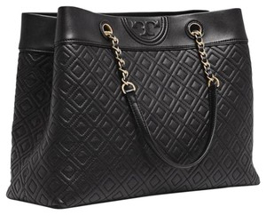 Tory Burch Quilted Leather Tote in black