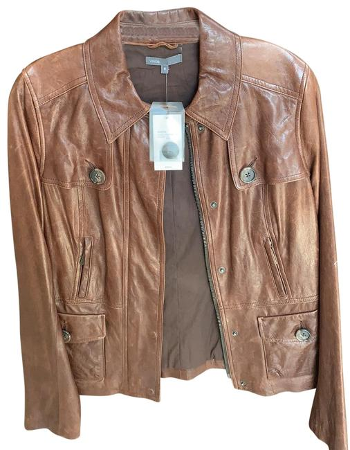 Item - Brown Leather with Buttons Jacket Size 8 (M)