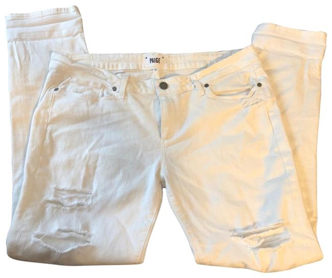 Item - White Distressed Jimmy Jimmy with Rips Skinny Jeans Size 12 (L, 32, 33)