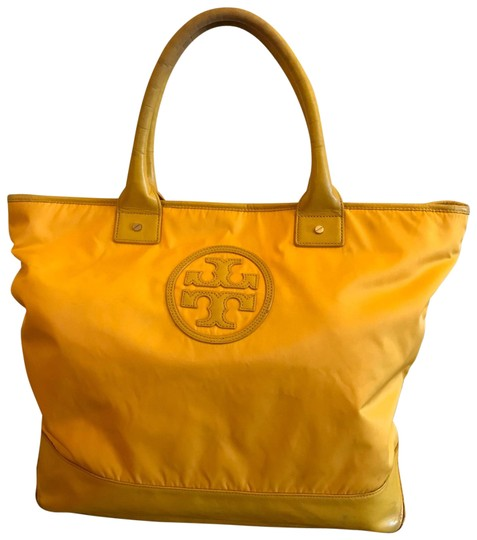 Preload https://img-static.tradesy.com/item/26030943/tory-burch-yellow-nylon-and-leather-tote-0-2-540-540.jpg
