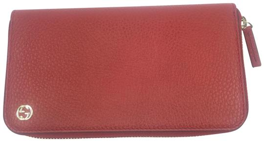 Gucci Gucci GG Logo Red Leather Zip Around Wallet #449347 Image 0