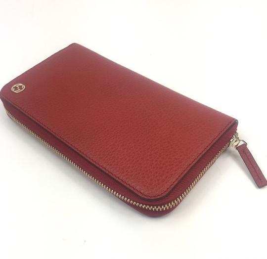 Gucci Gucci GG Logo Red Leather Zip Around Wallet #449347 Image 1