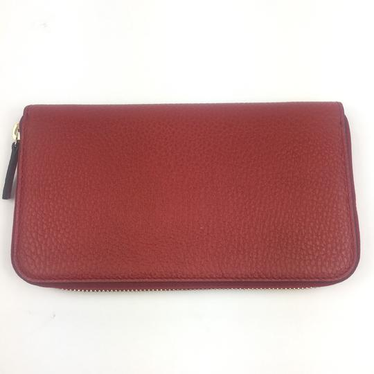 Gucci Gucci GG Logo Red Leather Zip Around Wallet #449347 Image 2