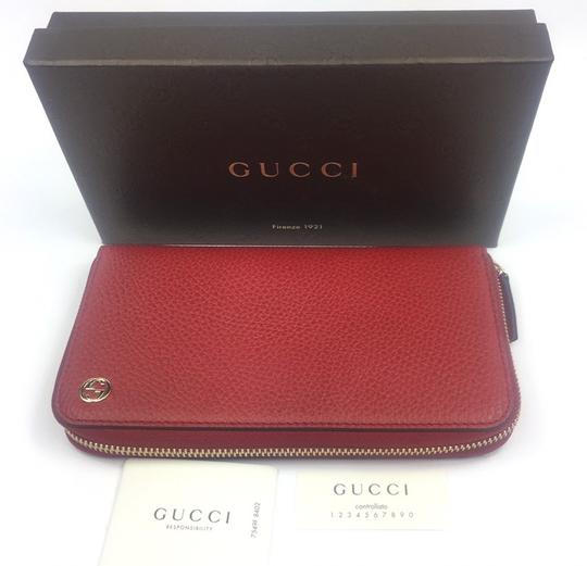 Gucci Gucci GG Logo Red Leather Zip Around Wallet #449347 Image 7