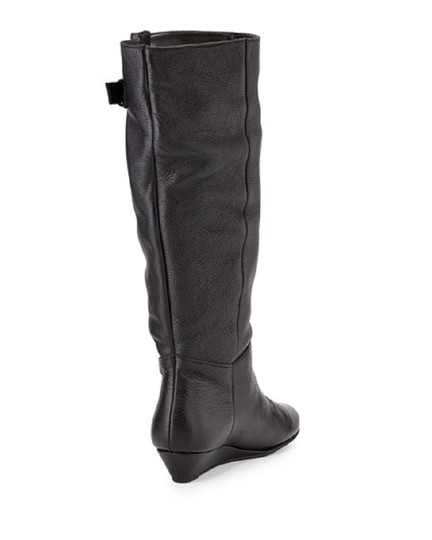 Steven by Steve Madden Leather Wedge Pull Black Boots Image 3