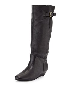 Steven by Steve Madden Wedge Leather Tall Pull On Black Boots