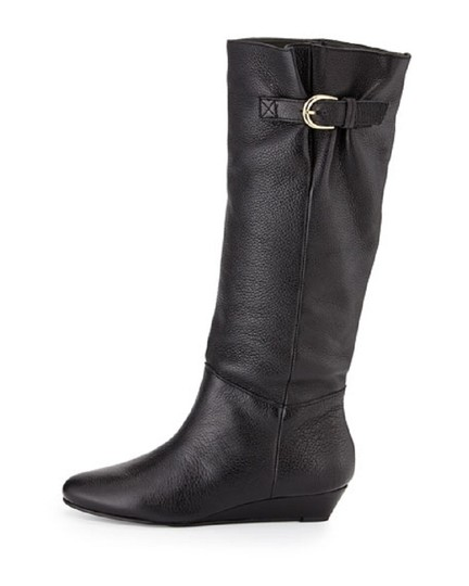 Steven by Steve Madden Wedge Leather Tall Pull On Black Boots Image 1