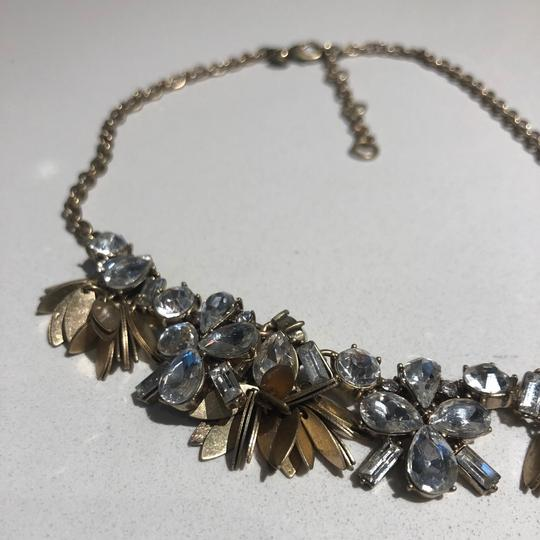 J.Crew J crew statement necklace with floral crystals and gold setting Image 1