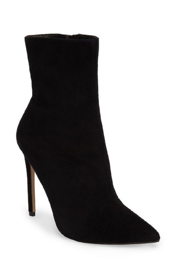 Steve Madden Pointed Toe Suede Leather Ankle Black Boots Image 3