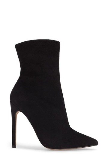 Steve Madden Pointed Toe Suede Leather Ankle Black Boots Image 5