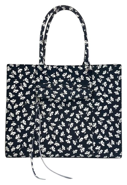 Item - Large Navy Floral Leather Tote