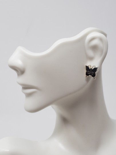 Gucci Sterling silver Gucci Butterfly Stud logo embellished earrings Image 2