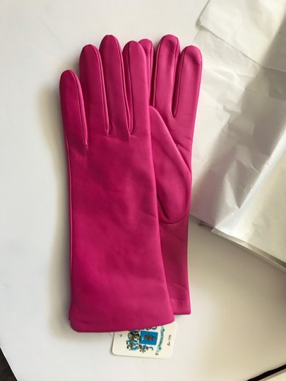 Portolano Mid Length Leather and Cashmere Gloves Size 7 Image 4