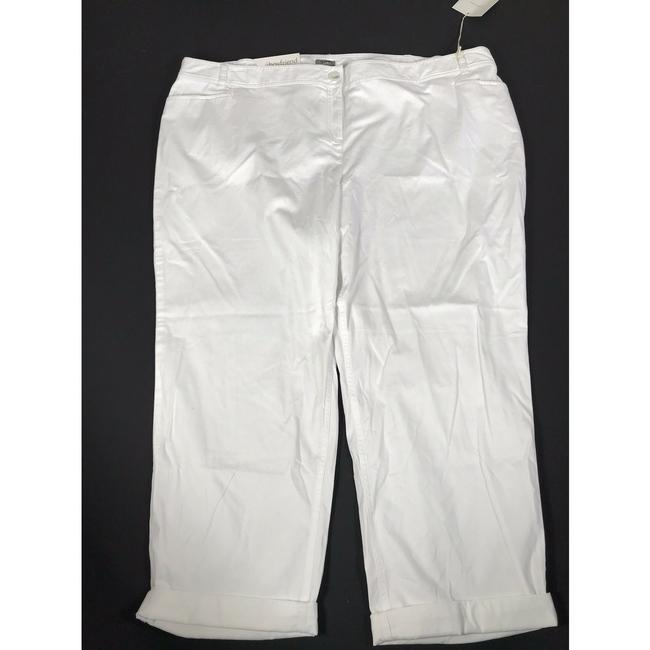 J. Jill Stretchy Monochrome Cotton Pockets Relaxed Khaki/Chino Pants White Image 1