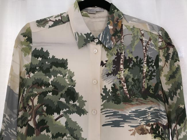 Stella McCartney Nyc Button Down Shirt Off White/Greens/Browns Image 1