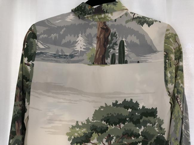 Stella McCartney Nyc Button Down Shirt Off White/Greens/Browns Image 5