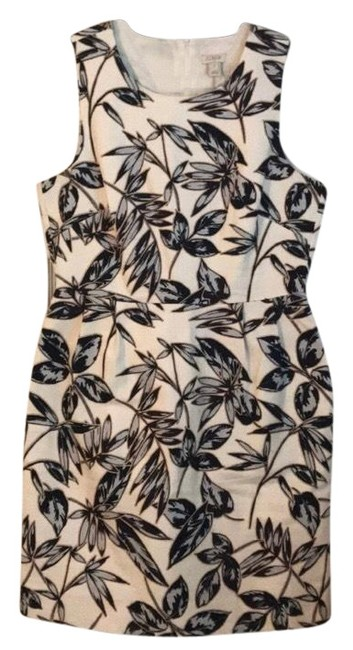 Preload https://img-static.tradesy.com/item/26031232/jcrew-white-taupe-leaf-print-shift-short-workoffice-dress-size-8-m-0-2-650-650.jpg