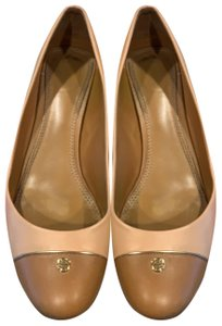 Tory Burch pink shell tan gold leather Pumps
