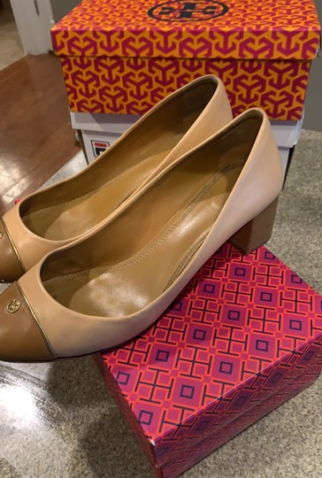 Tory Burch pink shell tan gold leather Pumps Image 2