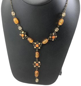 unsigned Antiqued Gold Y Necklace Amber Glass Beads