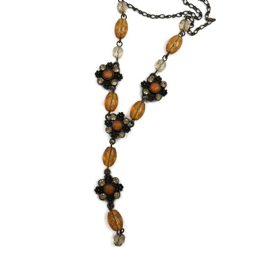 unsigned Antiqued Gold Y Necklace Amber Glass Beads Image 1