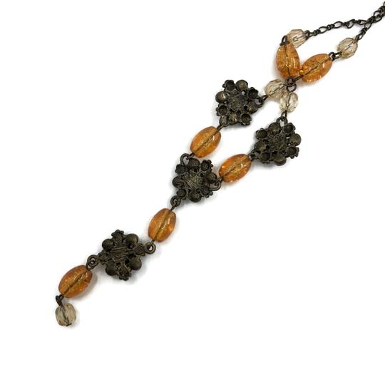 unsigned Antiqued Gold Y Necklace Amber Glass Beads Image 2