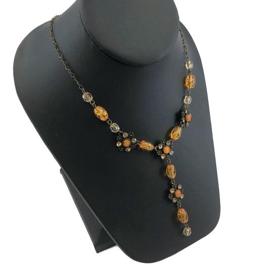 unsigned Antiqued Gold Y Necklace Amber Glass Beads Image 3