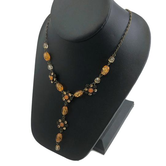 unsigned Antiqued Gold Y Necklace Amber Glass Beads Image 4